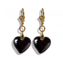BLACK HEART CRYSTAL EARRINGS