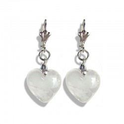 WHITE CLOUD CRYSTAL HEART EARRINGS