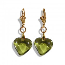 OLIVINE CRYSTAL HEART EARRINGS
