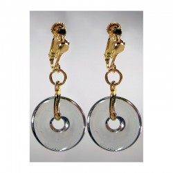 CHINESE PI EARRINGS IN GRAY CRYSTAL