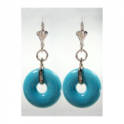 CHINESE PI TURQUOISE CRYSTAL EARRINGS