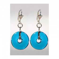 CHINESE PI EARRINGS IN TURQUOISE CRYSTAL