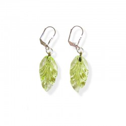 ABSINTH CRYSTAL LEAF EARRINGS