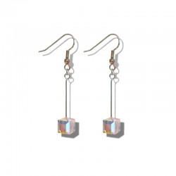 LARGE CUBE EARRINGS IN SWAROVSKI AURORA BOREAL CRYSTAL
