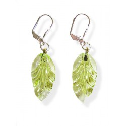 Dangling earrings absinthe crystal France leaf - Clips - Jewelry