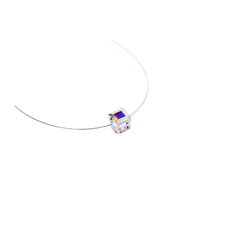 Aurora Borealis Cube necklace in Swarovski crystal - Trior Bijoux Paris