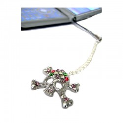 Skull crystal cell phone charm