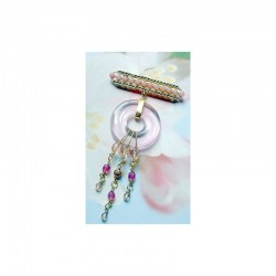 FIBULA BROOCH WITH ITS PINK CHINESE PIECE IN CRYSTAL
