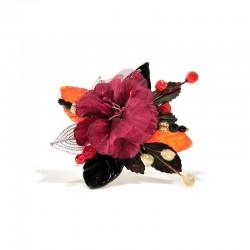 RED ERNESTINE BROOCH IN GLASS AND CRYSTAL