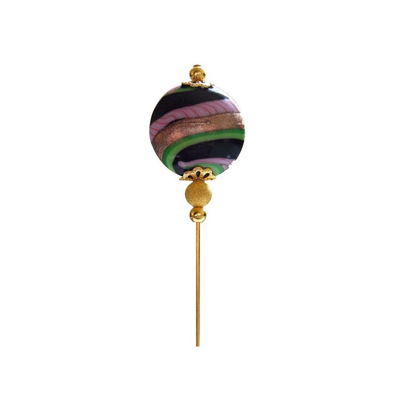 Black Pearl Fibula Crystal Murano Handmade Aventurine Decor