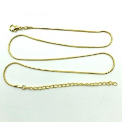 5 PIECES - VERY THIN SNAKE GOLDEN CHAIN ​​45 CM + EXTENSION