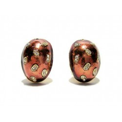 VERY BEAUTIFUL RED EMAIL STRASS CLIPS EARRINGS