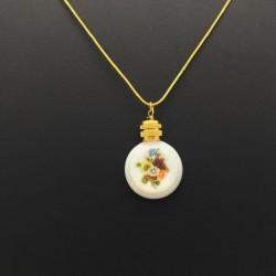 MINIATURE ROUND PERFUME PENDANT GOLD OPALINE BOUQUET DECORATION GIFT LOVE