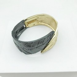 WOMEN'S BICOLOR ARTICULATED LARGE LEAF CUFF