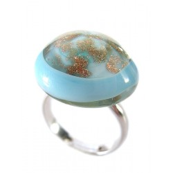Turquoise French crystal and aventurine ring - Round Rings - Jewelry