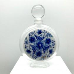 75 ML PERFUMERY BOTTLE WITH LIMOGES PORCELAIN DECORATION BLUE BOUQUET