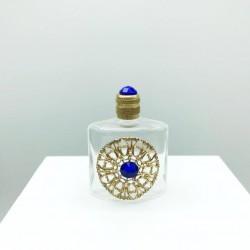 WHITE TRIANGULAR PERFUME MINIATURE GOLD GRID DECORATION BLUE PEARL