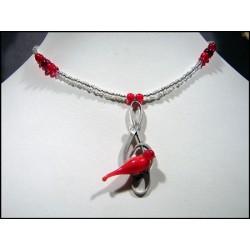 Collier rocailles avec pendentif clé de sol, colombe et coeur en cristal de France - Colliers originaux - Bijoux