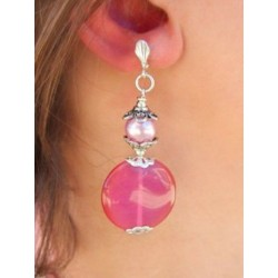 PENDANT EARRING IN IRISE PINK GLASS CLIPS OR PIERCED EARS