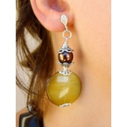 PENDANT EARRING IN TOPAZ GLASS IRISE CLIPS OR PIERCED EARS