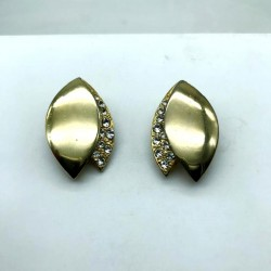 MAGNIFICENT PAIR OF GOLDEN STRASS CLIPS EARRINGS