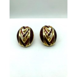 MAGNIFICENT PAIR OF BURGUNDY EMAIL CLIPS EARRINGS