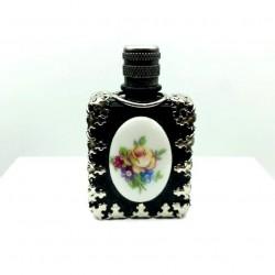 PERFUME MINIATURE PORCELAIN COLLECTION FLOWER DECORATION BLACK BOTTLE