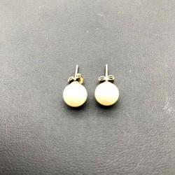CLOU EARRING - MOTHER-OF-PEARL 8 MM IMITATION MALLORCA silver 925/1000