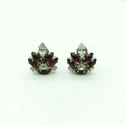 MAGNIFICENT EARRINGS CLIPS RHINESTONES JEWELERY STRASS RUBY CRYSTAL