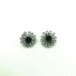 MAGNIFICENT BLACK CRYSTAL RHINESTONE CLIPS EARRINGS