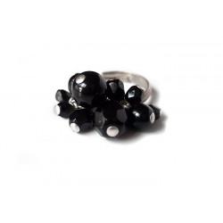 Bague noire avec pampilles en cristal et verre - Bagues - Bijoux