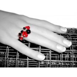Bague rouge et noire avec pampilles en cristal et verre - Bagues - Bijoux