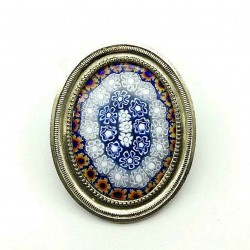 UNIQUE VINTAGE OVAL BROOCH MURINES OF VENICE ON ANTIQUE FRAME