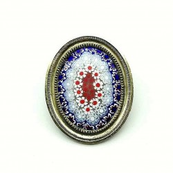 UNIQUE VINTAGE OVAL MURINES OF VENICE BROOCH ON ANTIQUE FRAME