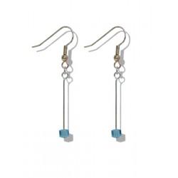 Boucles d'oreilles pendantes avec un petit cube aquamarine en cristal de Swarovski - Clips - Dormeuses - Bijoux