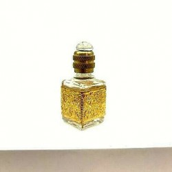 MINIATURE PERFUME COLLECTION CRYSTAL BOTTLE SQUARE SMALL GOLD GRID
