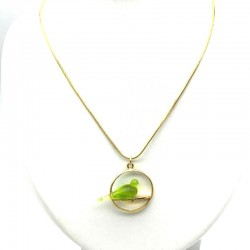 GREEN CRYSTAL COLOMBE CHOP NECKLACE ON SNAKE CHAIN ​​45 CM SWING