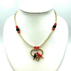 BLACK AND RED CRYSTAL COLOMBES CROSS NECKLACE ON HEART