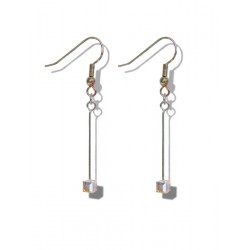 Small Swarovski crystal Cube Aurora borealis