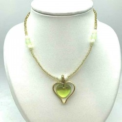 CRYSTAL CHECKLACE HEART IN METAL HEART NECKLACE