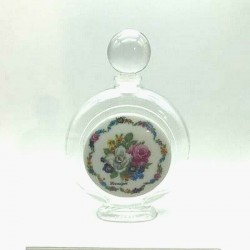 75 ML PERFUMERY BOTTLE WITH LIMOGES PORCELAIN DECORATION OF ROSES BOUQUET
