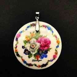 PENDANT OF LIMOGES PRETTY BOUQUET OF FLOWERS