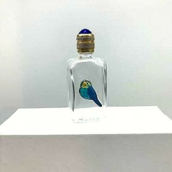 MINIATURE PERFUME COLLECTION OR FOR THE WHITE GLASS PIGEON ENAMEL BAG