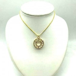 STRASS PENDANT IN ITS SLOTTED CIRCLE SNAKE CHAIN 45 CM