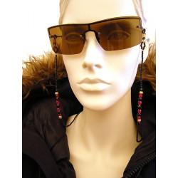 Chaîne de lunettes en perles de cristal de Bohème et verre