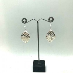 STRASS PENDANT EARRING IN ITS SILVER LEAF