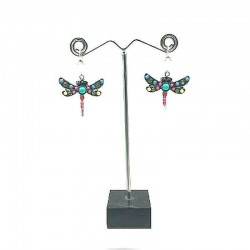 DRAGONFLY STRASS AND ENAMEL PENDANT EARRING
