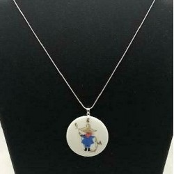 45 MM LIMOGES PENDANT ON 45 CM SILVER SERPENT CHAIN