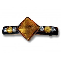 Murano crystal and silver leaf hair barrette