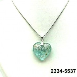 UNIQUE Pastel aquamarine crystal heart pendant with silver leaf inclusion on chain